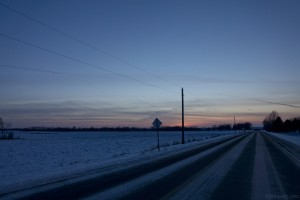 """Day Three of """"NoWhere, MN"""" Series. Sunset, County Road."""
