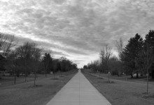 Day Fifty Three, 'NoWhere, MN'. Path, clouds, B&W.
